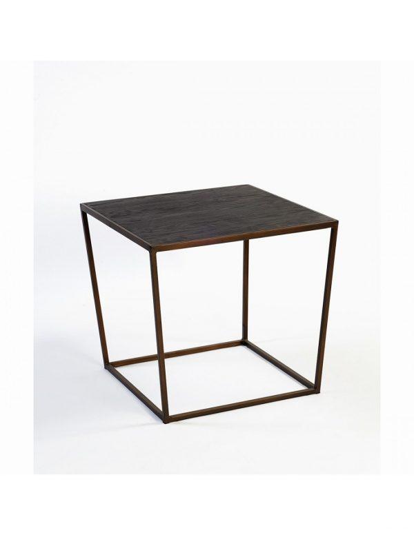 Mesa auxiliar de madera y metal dorado
