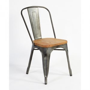 Silla de metal galvanizada , asiento madera silla madera y metal