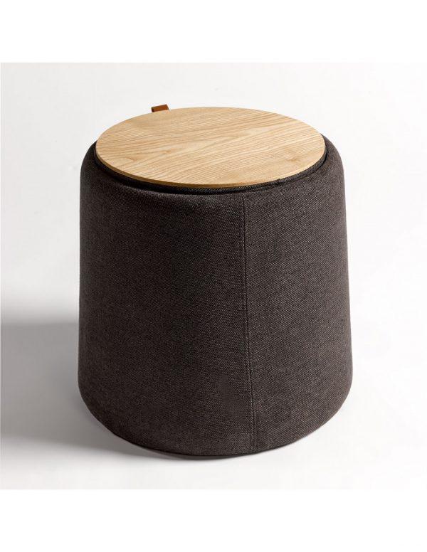 Mesa auxiliar madera y tapizado gris