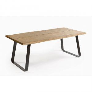 Mesa de comedor roble detalle y pata metal