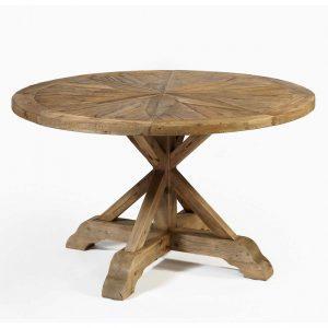 Mesa redonda de madera reciclada