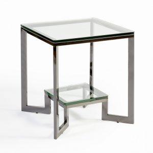 Mesa  auxiliar  acero y cristal
