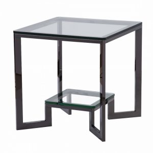 Mesa  auxiliar de acero oscuro y cristal