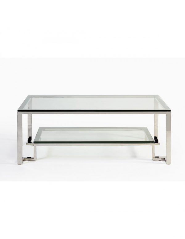 Mesa acero y cristal