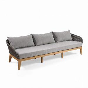 Sofá de exterior cuerda y eucalipto color teca