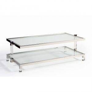 Mesa acero cristal y metacrilato