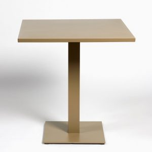 Mesa cuadrada de aluminio color champan