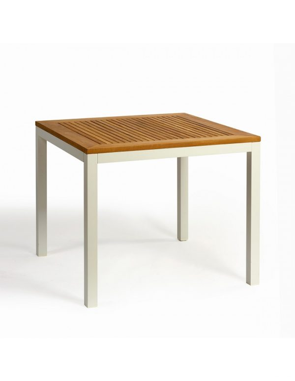 Mesa aluminio blanco y tablero de teka