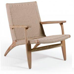 Sillon de madera natural y fibra natural
