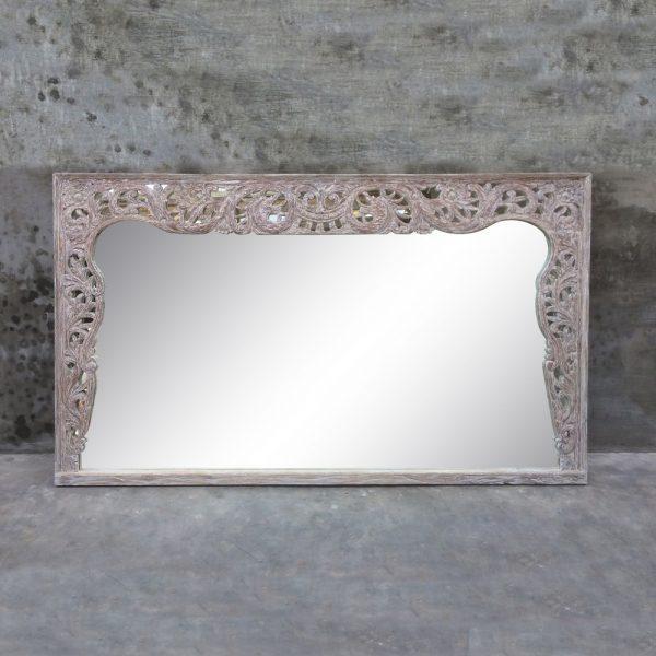Espejo antiguo blanco madera de teka