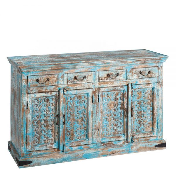 Aparador azul madera salón