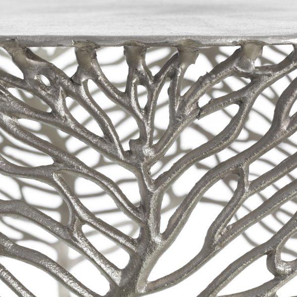mesa auxiliar plata aluminio salón