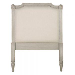 Cabecero blanco rozado madera / tejido