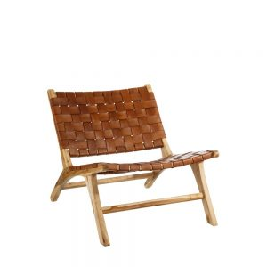 Butaca natural madera teka/piel