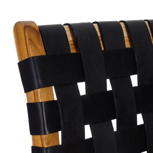 Sillón natural madera teka/piel salón