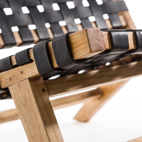 Butaca natural-negro madera teka/piel
