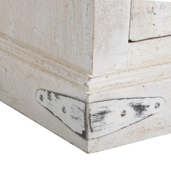Armario blanco rozado madera salón