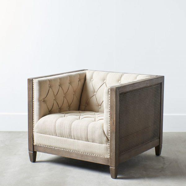 Sillón natural-beige tejido-madera
