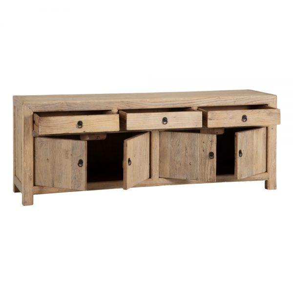 Mueble tv 4 puertas y 3 cajones natural