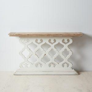 Consola natural-blanco madera entrada