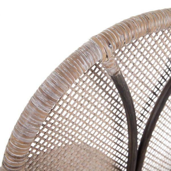 Silla beige-marrón ratán