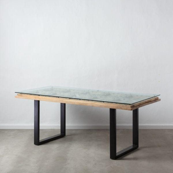 Mesa comedor gris-negro madera de mango