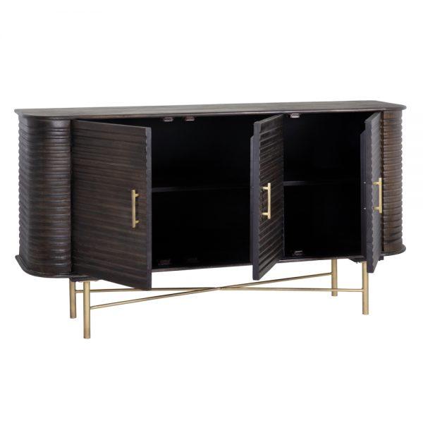 Aparador marrón madera / metal salón