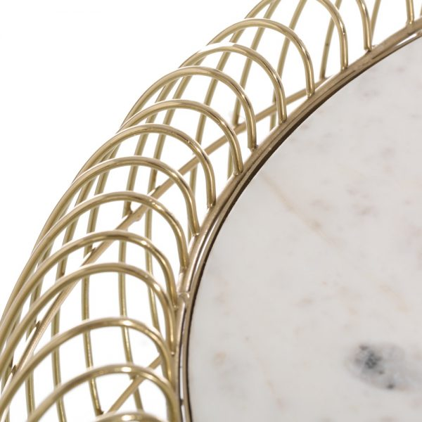 Mesa centro oro hierro / mármol