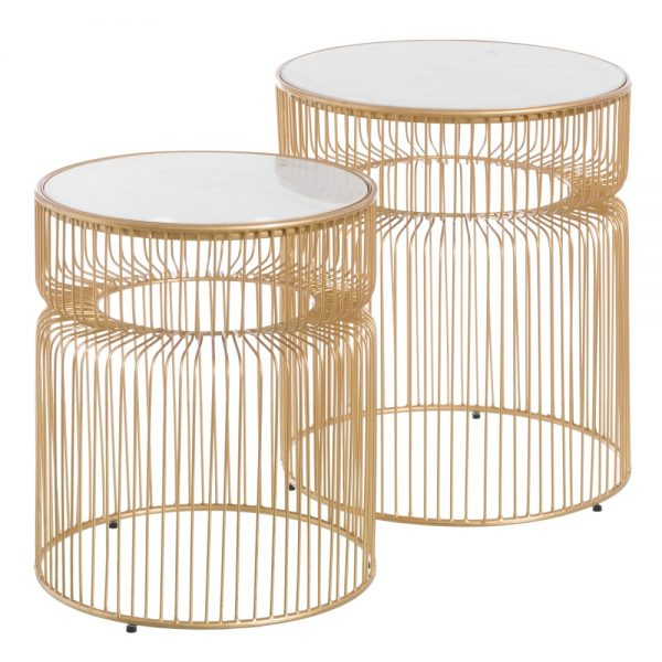 mesa auxiliar oro-blanco