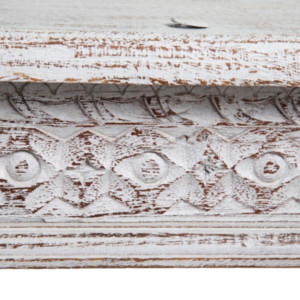 Mesa centro blanco rozado madera mango
