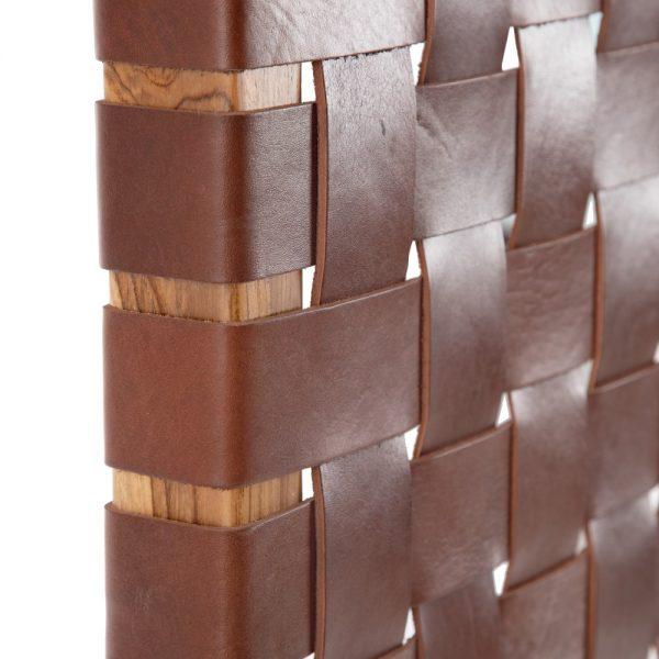 Cabecero marrón madera teka/piel