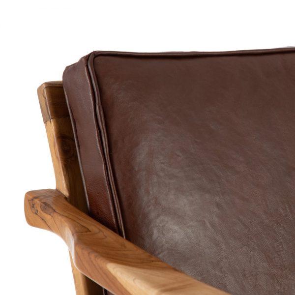 Sillón marrón madera teka/piel salón