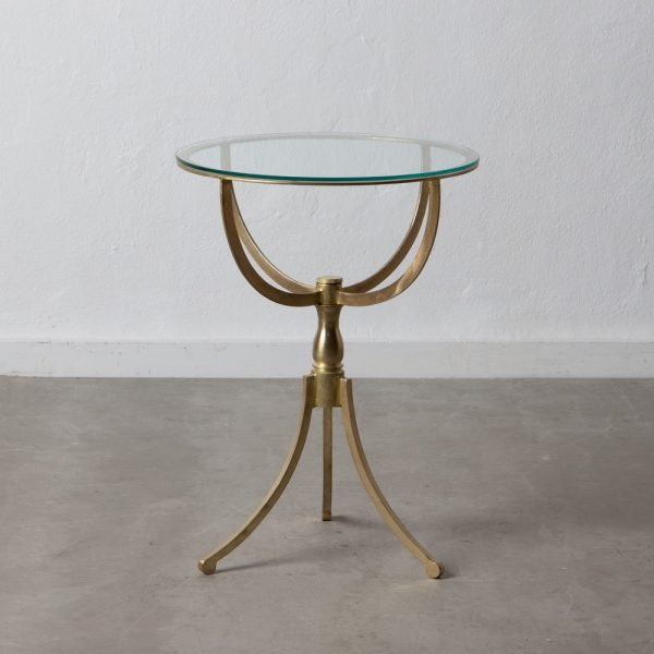 Mesa auxiliar oro viejo metal-cristal