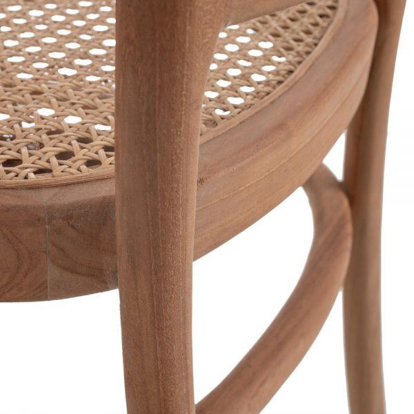 Silla natural-beige ratán/madera salón