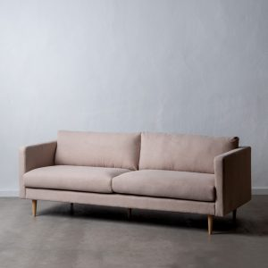 Sofá 3 plazas beige tejido-madera salón