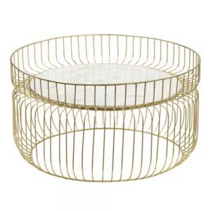 Mesa centro oro-blanco hierro / mármol