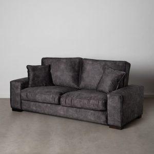 Sofá 3 plazas gris oscuro tejido salón